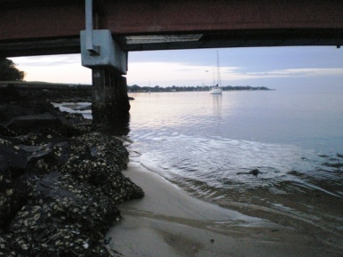 Dawn under the bridge at Bribie