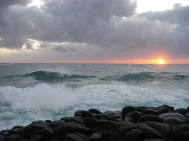 Turbulent seas at sunrise