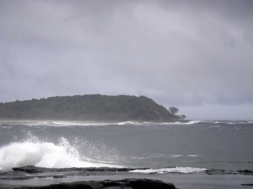 Saturday - a grey morning and a big swell