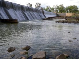 Below the weir the water was flowing much faster
