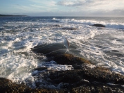 The swell was soon crahing over the rocks