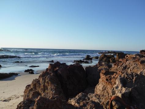 Breezy but flat seas at Dune Rocks
