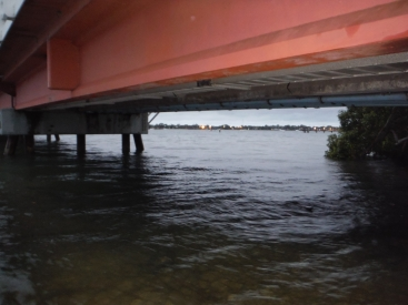 A grey morning under the Bribie Bridge