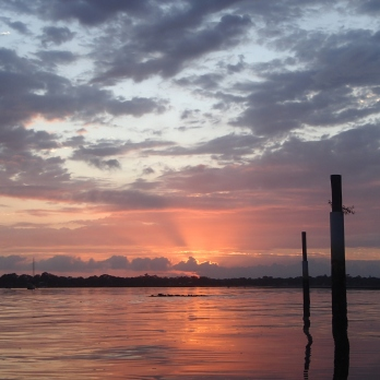 Brilliant red sunrise at Bribie Island