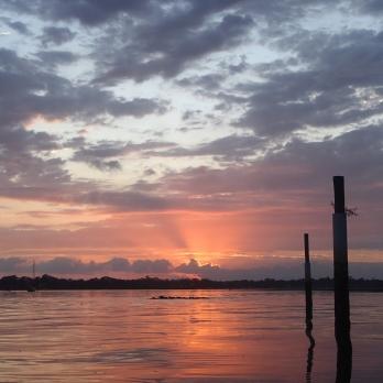 Brilliant red sunrise at Bribie Island